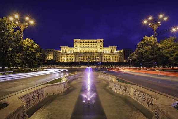 Palace Of Parliament At Night Art Print by LordRunar