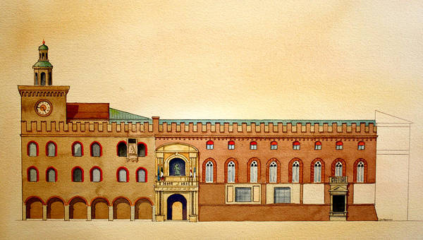 Painting - Palazzo D'accursio Bologna Italy by William Renzulli
