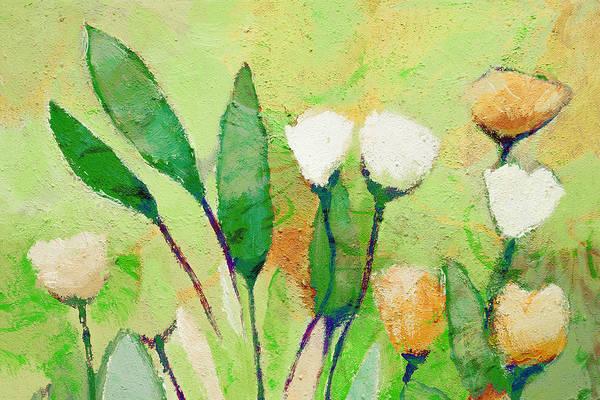 Painting - Pale Green Floral by Lutz Baar