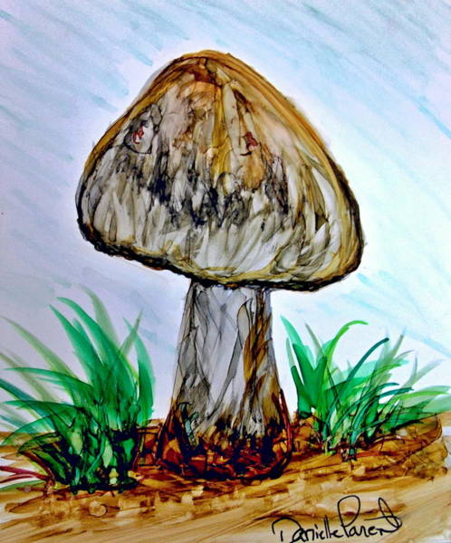 Painting - Pale Shade  Of Grey Mushroom Alcohol Inks by Danielle  Parent
