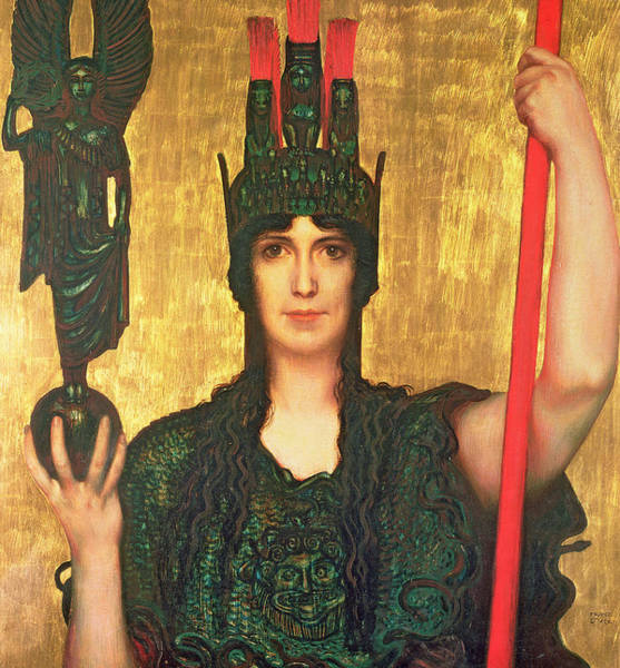 God Of War Wall Art - Painting - Pallas Athena by Franz Von Stuck
