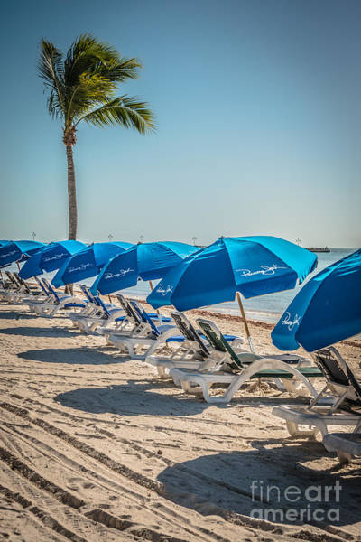 Clarence Photograph - Palm And Beach Umbrellas - Higgs Beach - Key West  by Ian Monk