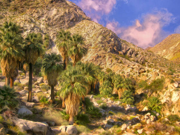 Late Afternoon Wall Art - Painting - Palm Oasis In Late Afternoon by Dominic Piperata