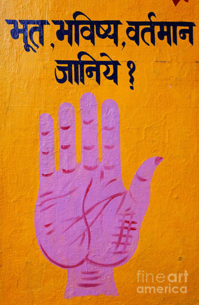 Palm Reading Wall Art - Photograph - Palm Reading Sign In Rishikesh by Robert Preston
