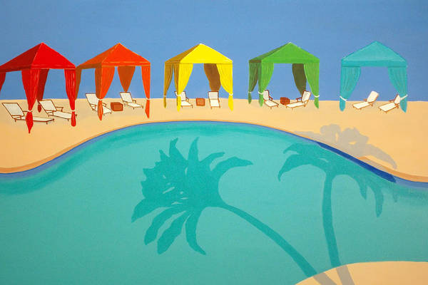 Swimming Pool Wall Art - Painting - Palm Shadow Cabanas by Karyn Robinson