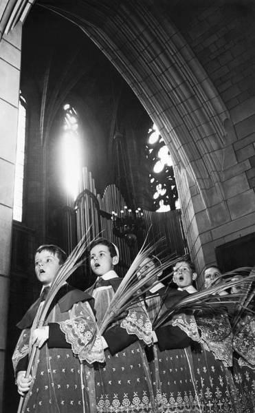 Photograph - Palm Sunday Choir Boys by Underwood Archives