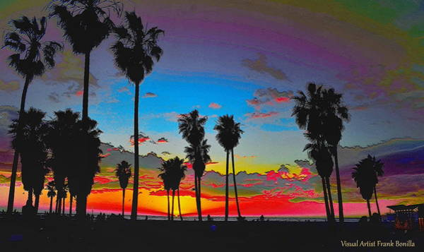 Digital Art - Palm Sunset by Visual Artist Frank Bonilla