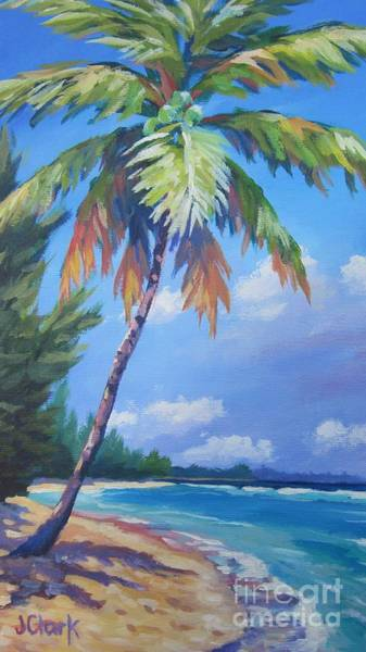 Wall Art - Painting - Palm Tree And View East    by John Clark
