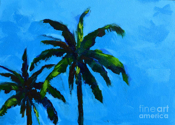 Painting - Palm Trees At Miami Beach With Blue Skies by Patricia Awapara