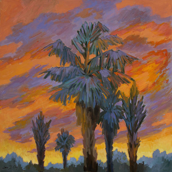 La Quinta Wall Art - Painting - Palm Trees Can Glow by Diane McClary