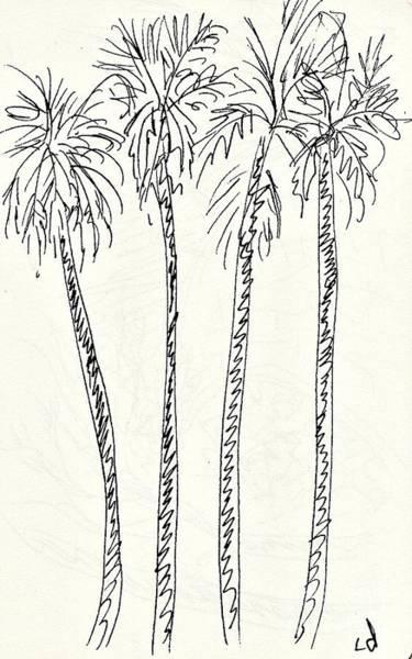 Drawing - Palm Trees In The Parque De La Bateria by Chani Demuijlder