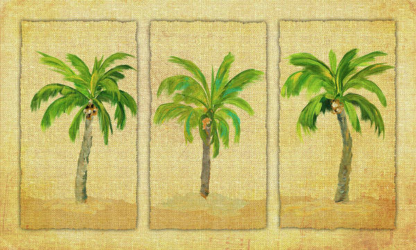 Linen Wall Art - Digital Art - Palm Trio by Julie Derice