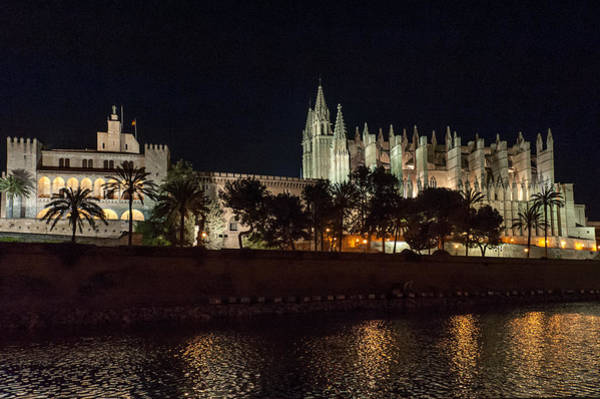 Photograph - Palma Cathedral Mallorca At Night by Gary Eason