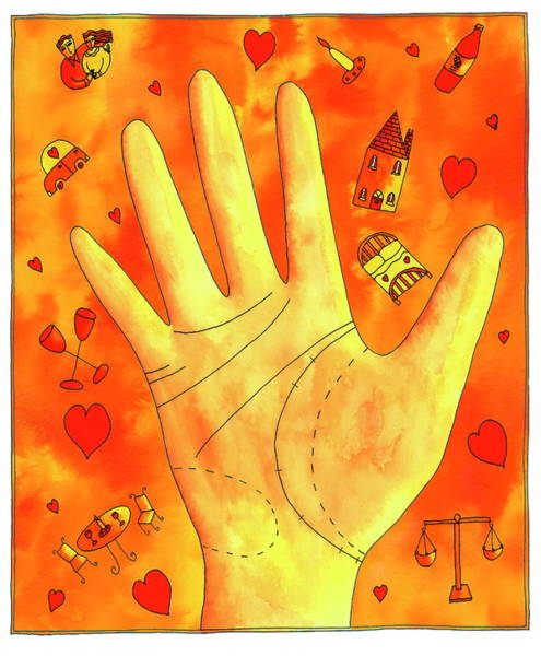 Palm Reading Wall Art - Photograph - Palmistry by Julie Nicholls/science Photo Library