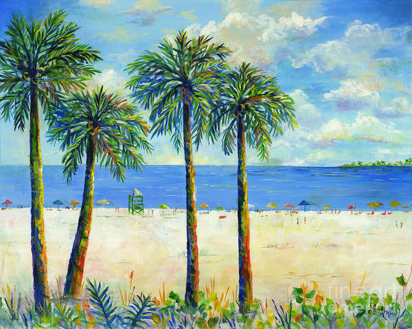 Wall Art - Painting - Palms On Siesta Key Beach by Lou Ann Bagnall