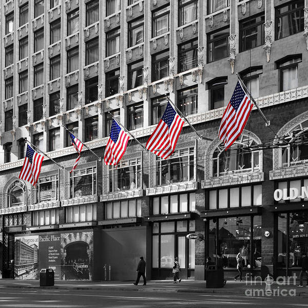 Photograph - Palomar Hotel And Old Navy In Downtown San Francisco - 5d19799 - Black And White And Partial Color by Wingsdomain Art and Photography