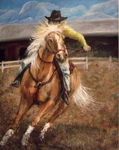 Palomino Horse Mixed Media - Palomino Cowgirl by Nancy Welsch