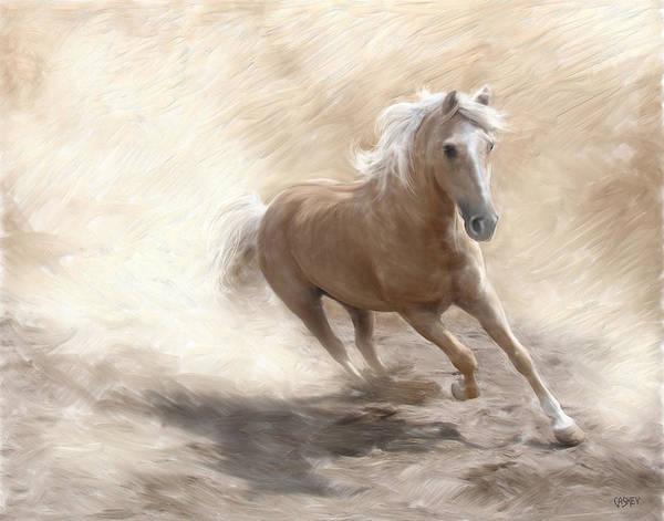 Palomino Horse Mixed Media - Palomino Dust by Bethany Caskey