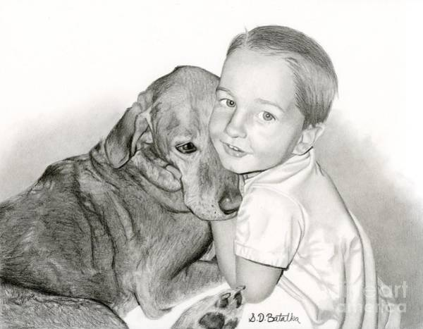 Pet Portrait Drawing - Pals by Sarah Batalka
