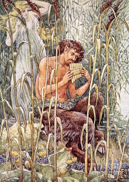Greek Myths Wall Art - Painting - Pan Playing His Pipes by Walter Crane