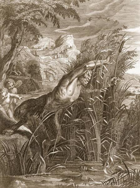 Wetland Drawing - Pan Pursues Syrinx She Is Transformed by Bernard Picart