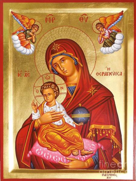Greek Icon Painting - Panagia - Virgin Mary by Theodoros Patrinos