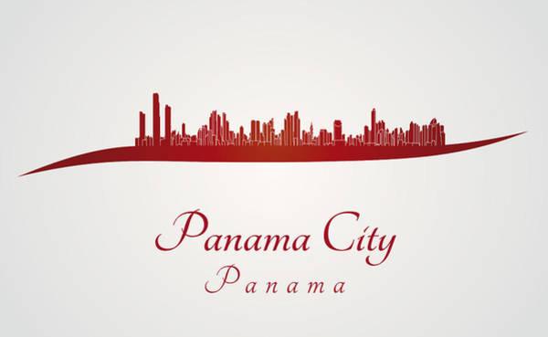 Panama Digital Art - Panama City Skyline In Red by Pablo Romero