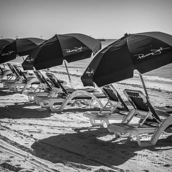 Panama Photograph - Panama Jack Blues - Higgs Beach - Key West - Square - Black And White  by Ian Monk