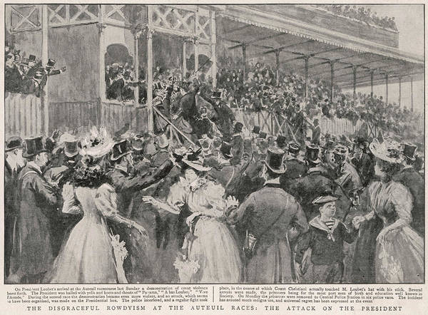 Actually Drawing - Panama Scandal The Crowd At Auteil by  Illustrated London News Ltd/Mar