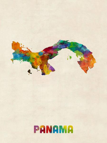 Latin America Wall Art - Digital Art - Panama Watercolor Map by Michael Tompsett