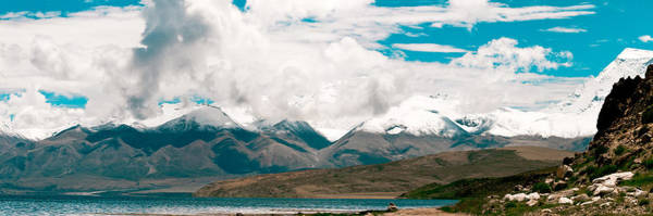 Photograph - Panarama Mountain Lake In Tibet by Raimond Klavins