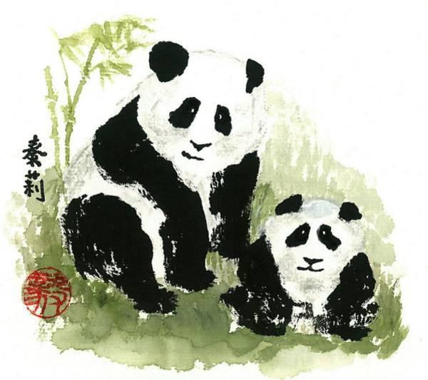 Wall Art - Painting - Panda Bears by Terri Harris