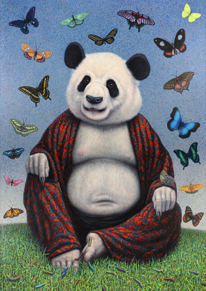 Bear Painting - Panda Buddha by James W Johnson