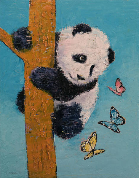 Happy Little Trees Painting - Panda Butterflies by Michael Creese