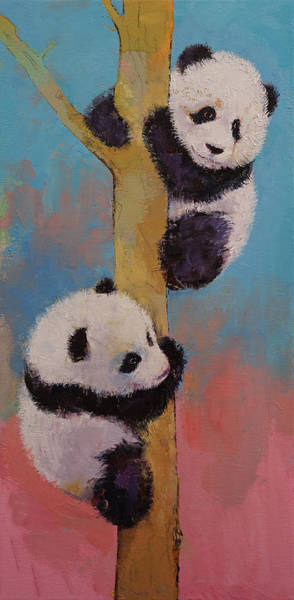 Happy Little Trees Painting - Panda Fun by Michael Creese