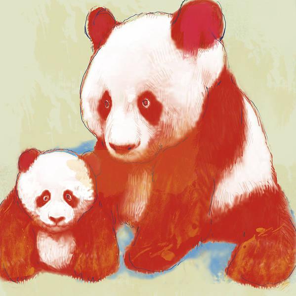 Panda Wall Art - Drawing - Panda Mum With Baby - Stylised Drawing Art Poster by Kim Wang