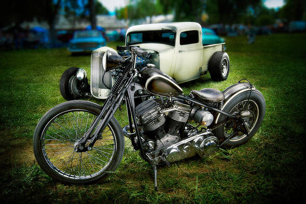Rat Rod Wall Art - Photograph - Panhead Harley And Ford Pickup by YoPedro