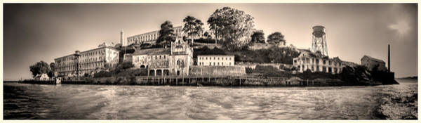 Photograph - Panorama Alcatraz Shaky Sepia by Scott Campbell
