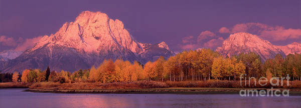 Photograph - Panorama Dawn Lights Up Mount Moran In Grand Tetons National Park by Dave Welling