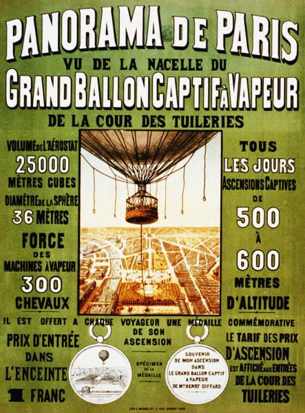 Photograph - Panorama De Paris Grand Balloon Captif Avapeur by Bill Cannon