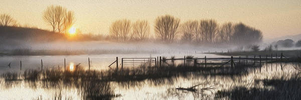 Wall Art - Photograph - Panorama Landscape Of Lake In Mist With Sun Glow At Sunrise Digital Painting by Matthew Gibson