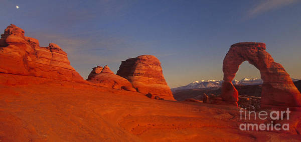 Photograph - Panorama Moonrise Over Delicate Arch Arches National Park Utah by Dave Welling