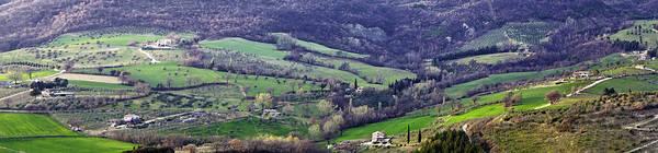 Tuscany Vineyards Wall Art - Photograph - Panorama Of A Tuscan Hillside Town by Susan Schmitz