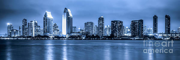Wall Art - Photograph - Panorama Of Blue San Diego Skyline At Night by Paul Velgos