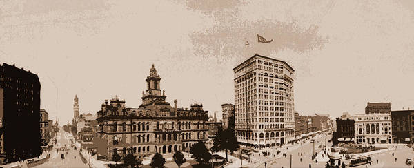 Michigan Drawing - Panorama Of Campus Martius, Detroit, Michigan, Streets by Litz Collection