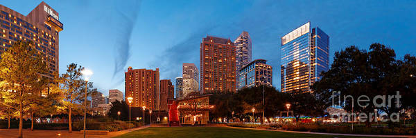 The Maid Photograph - Panorama Of Discovery Green Park At Dawn - Downtown Houston Texas by Silvio Ligutti