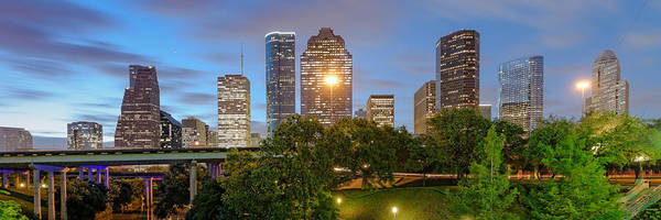 Bald Cypress Photograph - Panorama Of Downtown Houston Skyline From Sabine St. Bridge - Houston Texas by Silvio Ligutti