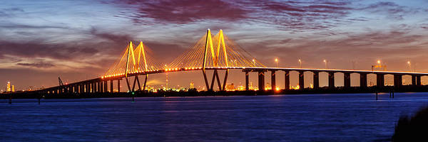 Cable-stayed Bridge Photograph - Panorama Of Fred Hartman Bridge by Silvio Ligutti
