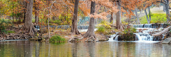 Bald Cypress Photograph - Panorama Of Guadalupe River In Hunt Texas Hill Country by Silvio Ligutti