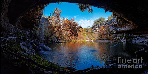 Photograph - Panorama Of Hamilton Pool In The Fall - Austin Texas Hill Country by Silvio Ligutti